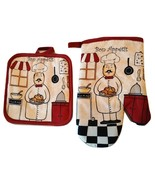 FAT CHEF OVEN MITT SET 2pc Potholder Kitchen Decor Red Cook Bon Appetit NEW - $10.49