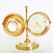 Vintage RHYTHM Mantel Alarm Clock Auto CALENDAR Rare!!! Gilded GLOBE Mid... - $495.00