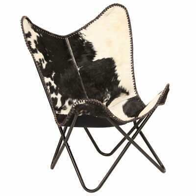 vidaXL Genuine Goat Leather Butterfly Chair Black White Armchair Furniture image 9