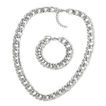 """Stainless Steel Curb Bracelet for Women Necklace Jewelry Set 24"""" Hypoallergenic"""