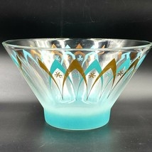 Vintage Anchor Hocking Chip Bowl Atomic Starburst Turquoise Gold Arch Gl... - $29.95