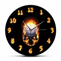 Angry Demon Fire Skull Wall Clock Unique Burning Numbers Hell Death Gift... - $40.31