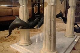 "Douglas Wylie  Atlantian Dolphins  Bronze & Marble Coffe Table 18"" x 36"" x 60""  image 2"