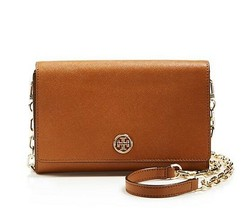 NWT TORY BURCH Robinson Wallet On a Chain WOC Leather Crossbody Bag BROW... - $225.00