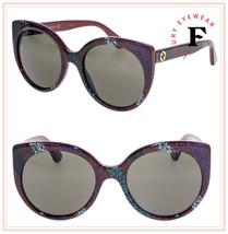 GUCCI 0325 Red Rainbow Glitter Stripe Cat Eye Sunglasses GG0325S Women Authentic - $240.57