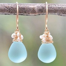 Aqua blue earrings frosted glass cultured freshwater seed pearls 14kt go... - $56.53
