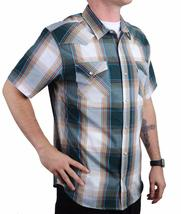 Levi's Men's Cotton Casual Button Up Short Sleeve Shirt Plaid Teal 3LYLW6082 image 4
