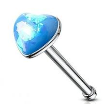 """Nose Bone Ring Heart w/Glitter Opal Aqua 3mm Head 20 Gauge 1/4"""" Steel Bo... - $6.49"""