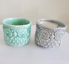 "PORCELAIN POTS Set of 2 Owl Planters Sea Green Grey 2.6"" Ceramic Ice Crack Glaze"