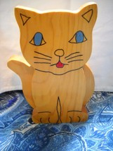 HAND PAINTED RUSTIC WOODEN CAT DOOR STOPPER WEDGE - $9.99