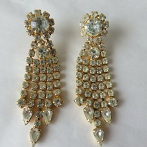Vintage Clear Rhinestone Dangle Earrings Costume Jewelry Gold Tone Stud Posts - $59.35