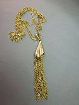 """VTG Monet Tassel Necklace Double Multi Chain Designer Gold Plated 28"""" Long image 3"""