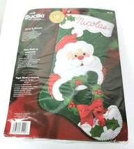 Bucilla Stocking Kit Santa & Wreath 18 inch Felt Stitchery Christmas NEW - $32.62