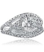 Vintage Halo 2.16 Carat Round Cut Diamond Engagement Ring 14K White Gold - $5,054.42