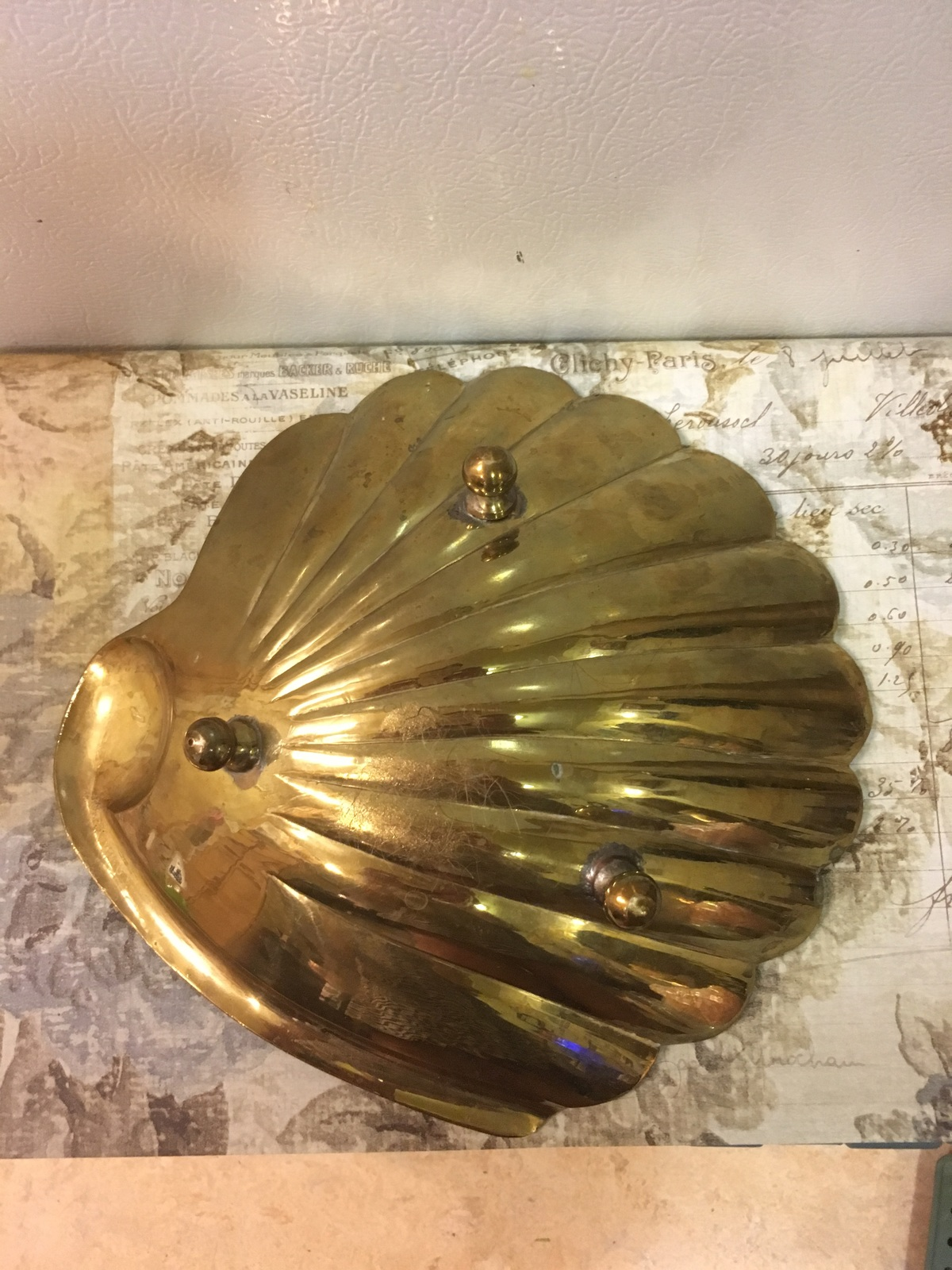 Vintage Solid Brass Seashell Candy Dish Soap Dish Cottage Beachy Beachhouse