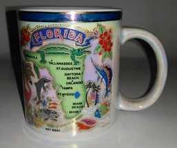 Rainbow Glossed Florida State Decorative Coffee Cup 3.5 in tall x 3 in D... - $6.11