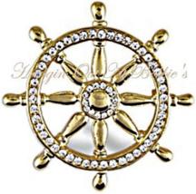 Captain's Ship Wheel Pin Brooch Clear Crystal Gold Tone Metal Nautical - $24.99