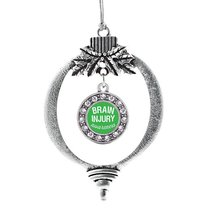 Inspired Silver Brain Injury Awareness Circle Holiday Decoration Christmas Tree  - $14.69
