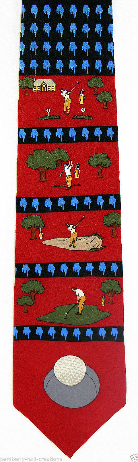 Vicky Davis Tee Time Men's Silk Necktie Golf Golfing Golfer Novelty Neck Tie