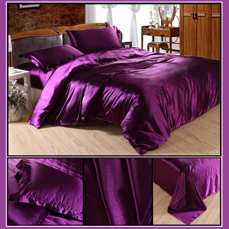 Luxury Purple Mulberry Silk Satin Sheet Duvet and 2 Pillow Cases 4 Pc Sets