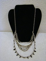 Fashion Jewelry Silver-Toned Metal Layered Chain, Black/Silver Beaded Necklace - $13.85