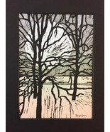 "Woodblock Print: Riverside Variation 6 (Limited Edition) Matted to 8"" x 10"" - $25.00"