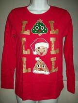 Children's Place Girls Top XL 14 LOL Emoji Long Sleeve Glittery Shirt Christmas  - $19.57