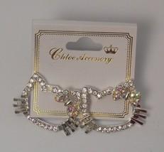 Women's KITTY Earrings Drop Dangle Rhinestones Silver Tones Fashion Push... - $8.97