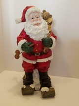 "16"" Ceramic Santa Delivery on ""Wooden"" Ski's with Sack of Toy's Bear/Tra... - $48.46"