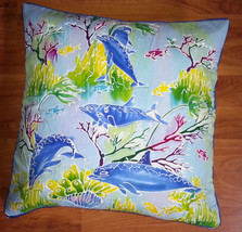 New Handpainted Batik Tropical Dolphin Ocean 23X23 Inch Cotton Pillow Co... - $23.38