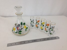 Set of 6 Hand Paint Floral Spring Bird 20 oz Flask Five 1 oz Handle Shot... - $38.61