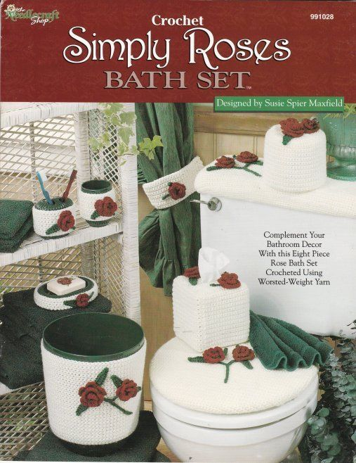 Primary image for Simply Roses Bath Set Crochet Bathroom Decor 8 Pieces Patterns Rare Find OOP