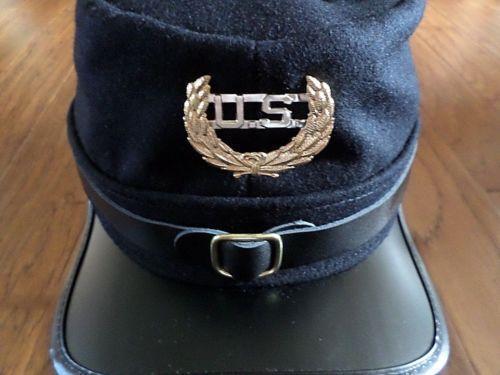 CIVIL WAR UNION KEPI CALVARY HAT BLUE WOOL ADJUSTABLE KEPI SWORDS U.S BADGE