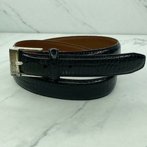 Lauren Ralph Lauren Croc Embossed Leather Black Belt Size Medium Womens - $18.60