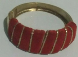 Vintage Red Velour & Gold Tinsel Stripe Yellow Gold Tone Hinged Bangle B... - $14.84