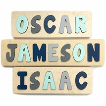 Personalized Wooden Name Puzzle, Gift for One or Two Year Old Boy, Mint, Navy an