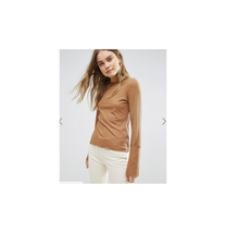 Women's Top With Long Sleeve Cuff Detail In Soft Rib Brown Size US 8 NWT - $13.85