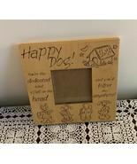 Happy Dog Wooden Easel Back Desktop Photo Frame 7 Inch Funny Smart Good ... - $11.99