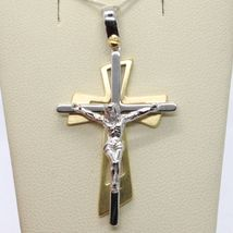 SOLID 18K WHITE YELLOW GOLD PENDANT DOUBLE CROSS, JESUS, SATIN, MADE IN ITALY image 5