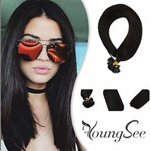Youngsee 16inch Remy Utip Hair Extensions Real Human Hair Darkest Brown #2 100%  - $49.26