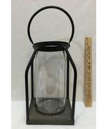 "Hurricane Candle Holder Lantern Wrought Iron w/ Glass Insert Pillar 12"" ... - $39.55"