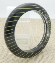 Black Gold Striped Sparkle Lucite 1980s Bangle Bracelet Vintage  - $29.69
