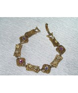 Vintage Victorian Reproduction Lacey Goldtone w Dainty Enamel Flowers & ... - $8.59