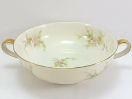 """Theo Haviland NY Rosalinde Cream Soup Bowl 4-7/8"""" Ivory Porcelain Pink - $26.73"""