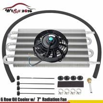 "6 Row Oil Cooler & 7"" Cooling Fan w/ Kit Radiator Remote Aluminum Transm... - $48.50"