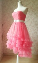 MELON RED Strapless Sweetheart Neck Hi-lo Tiered Tutu Skirt Bridesmaid Dress Cut image 3