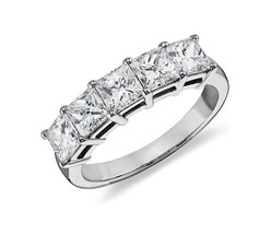 2 Ct. Princess Cut 5 Stone Diamond Anniversary Ring 18K White Gold Certi... - $6,375.60