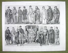 COSTUME of Romans Toga Dress Women Lictor Peasant etc - 1870s Engraving ... - $16.20