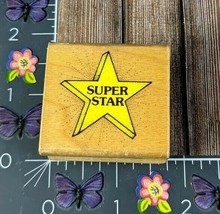 Hero Arts Twinkling Super Star Rubber Stamp 1990 C643 Wood #I76 - $2.23