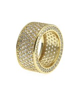 ICED OUT LUXURY HIP HOP MIGOS MENS LAB DIAMOND GOLD PLATED PINKY RING - £16.87 GBP